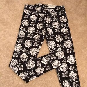 Pink black and white floral leggings